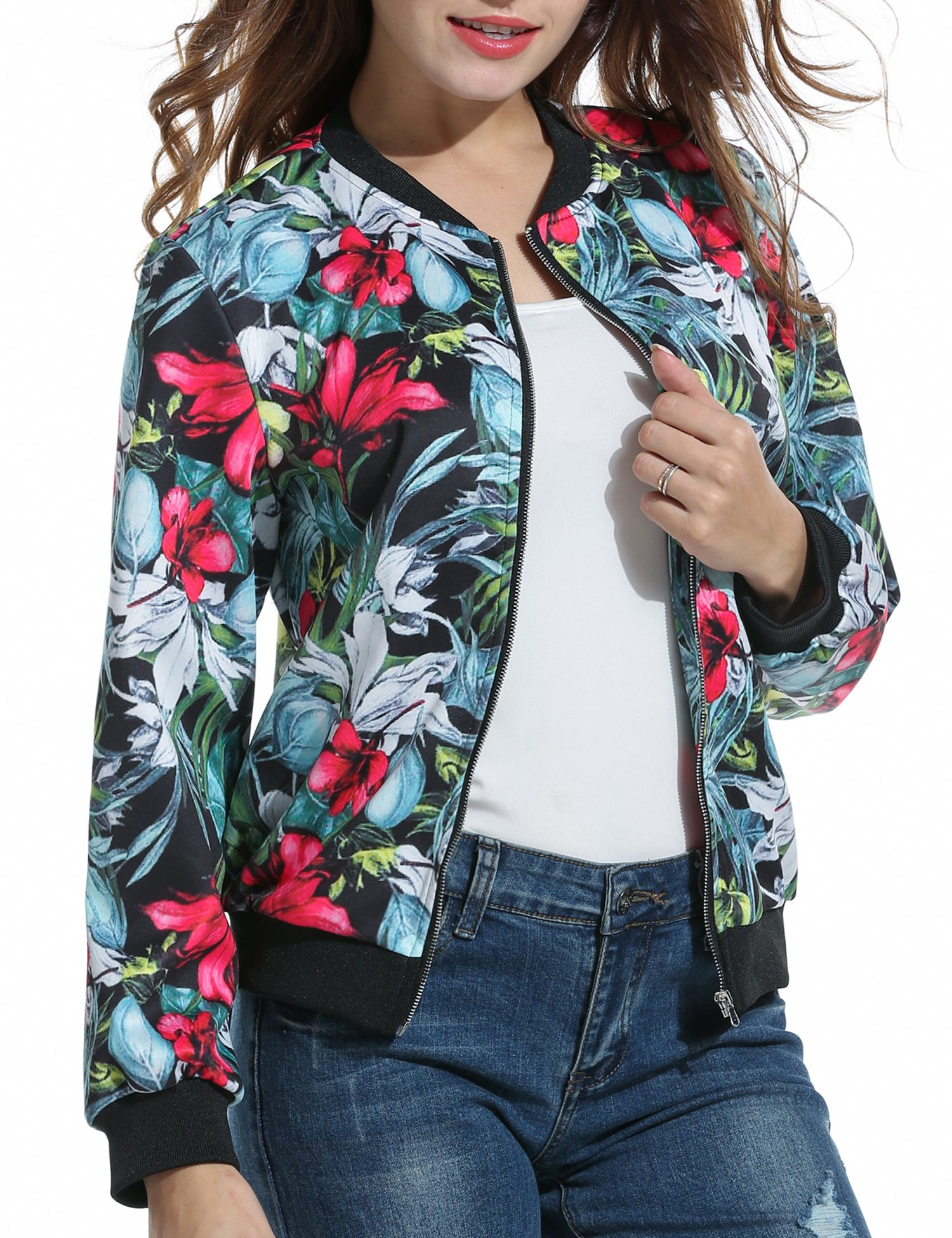 ACEVOG Women's Long Sleeve Zip up Floral Printed Casual Bomber Jacket (Red Black XXL)