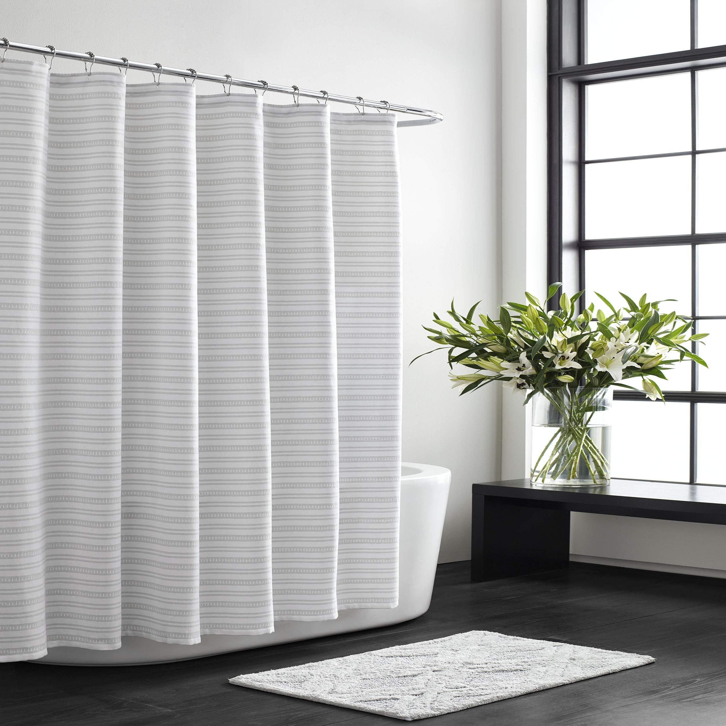 Vera Wang Textured Stripe Shower Curtain 72x70 White