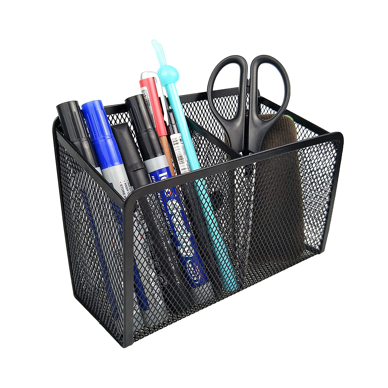 Black Wire Magnetic Pencil Holder - 2 Generous Compartments Magnetic Storage Basket Organizer - Extra Strong Magnets - to Hold Whiteboard, Refrigerator, Locker Accessories