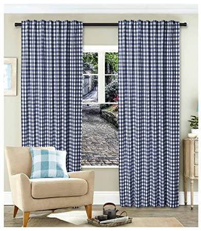 Gingham Check Window Curtain Panel, 100 Cotton, Navy White, Cotton Curtains, 2 Panels Curtain, Tab Top Curtains, 50×108 Inches, Set of 2