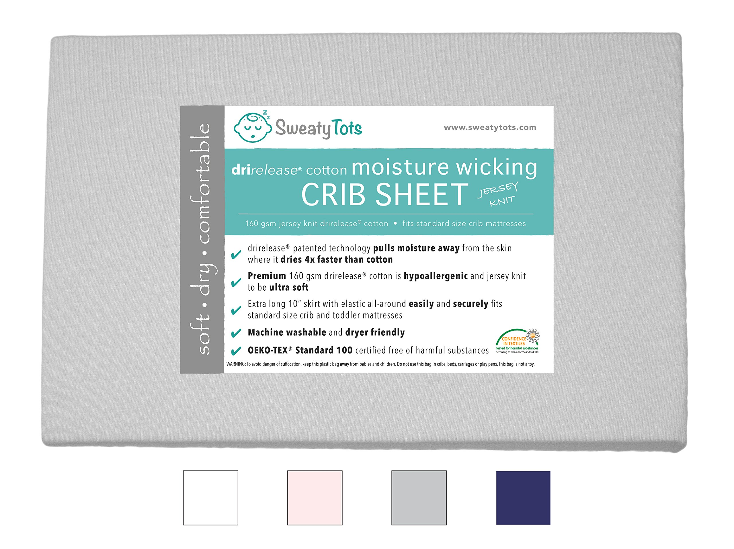 Moisture Wicking Fitted Crib Sheet for Sweaty, Leaky, Drooly Sleepers - Jersey Knit, Fits Standard Crib and Toddler Mattresses, Features Patented Drirelease(R) Moisture Wicking Technology (Gray)