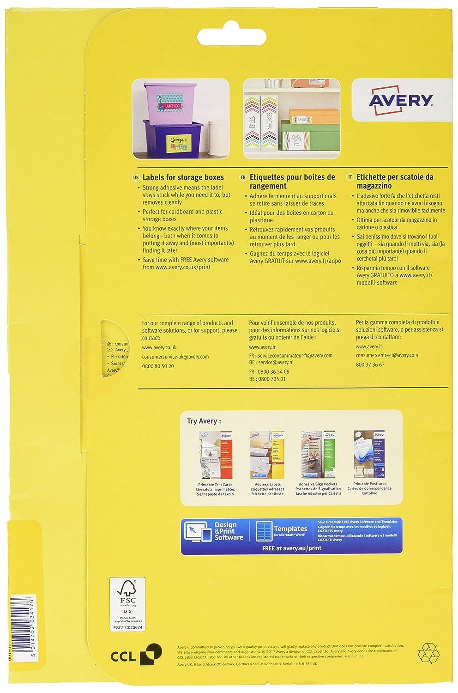Avery 120/x 98/mm Aufbewahrungsbox Label f/ür Laserdrucker 60 x 20 mm
