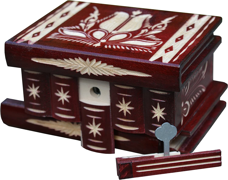 TransylvanyArt - Caja de Madera Tallada con Cerradura Pequeña con cajitas de Madera para Recuerdo, Caja de Rompecabezas con Compartimento Secreto, Ideas de Regalo para Mujeres y Hombres: Amazon.es: Hogar