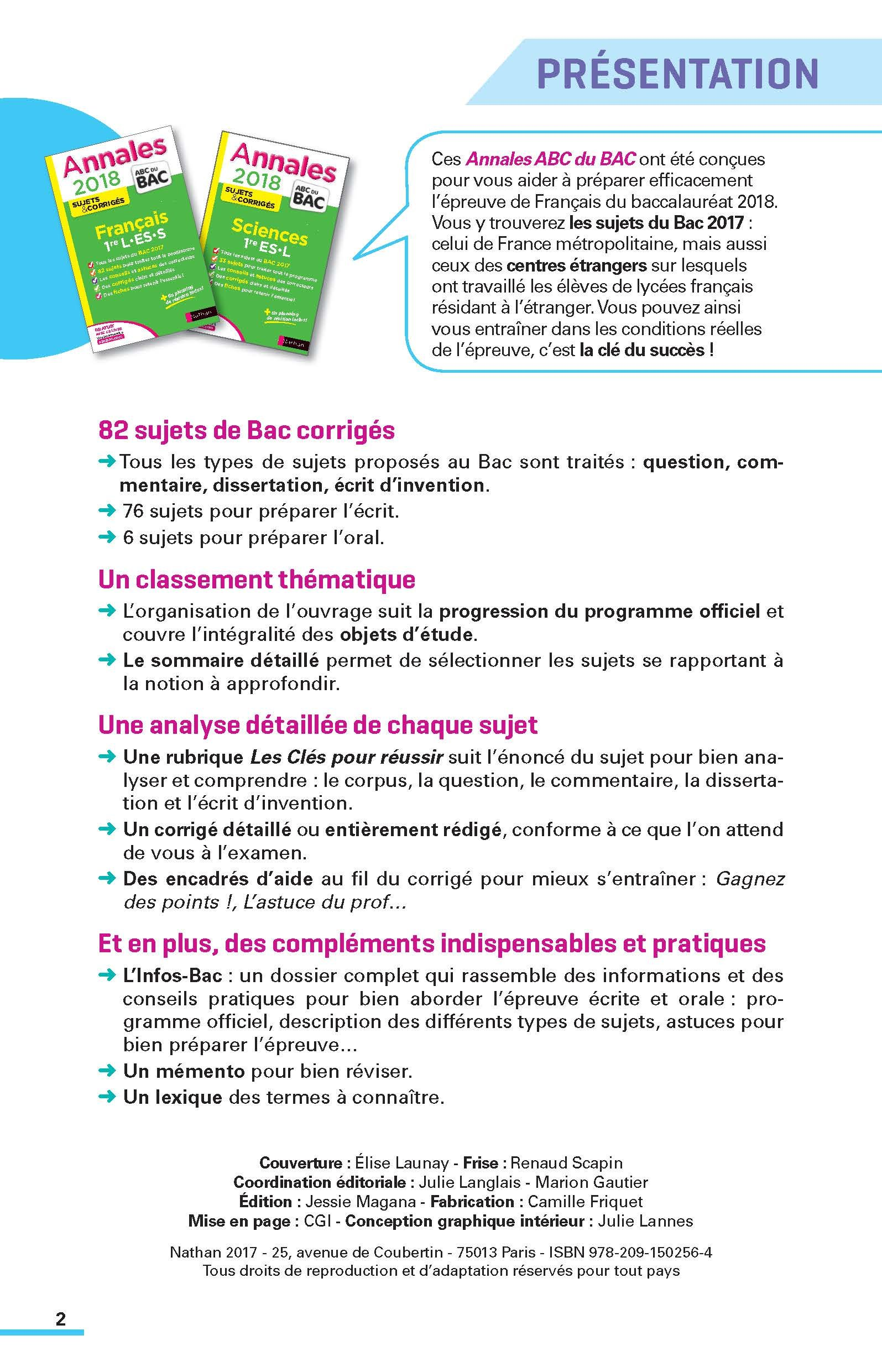 Français 1re L-ES-S : Sujets & corrigés: 9782091502564: Amazon.com: Books