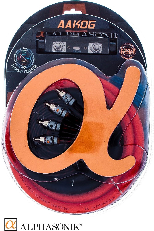 Alphasonik AAK0G Premium 0-Gauge Complete Car Amplifier Installation Kit Hyper-Flex Power, Ground, Speaker Wire RCA Cable - Exceeds AWG (American Wire Gauge) Standard Element Certified Amp Install Kit 911bJP5iffL