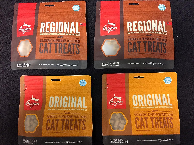 4 Pack Combo of Orijen Freeze Dried Cat Treats Featuring 2 Regional Red & 2 Orijen Original (4 Packs@ 1.25 ouces Each)