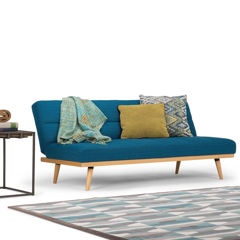 Simpli Home AXCSOF-02-MBU Spencer Contemporary 71 inch Wide Sofa Bed in Mediterranean Blue Linen Look Fabric