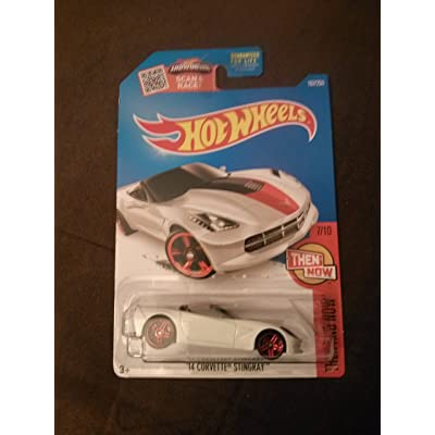 Hot Wheels 2016 Then and Now '14 Corvette Stingray 107/250, White: Toys & Games