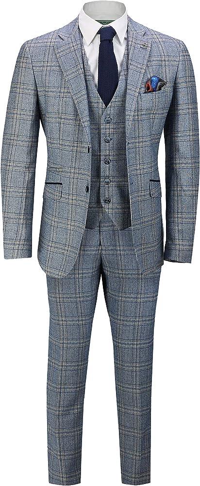 Amazon.com: Traje de tweed para hombre, retro, vintage, azul ...