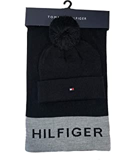 e976803ec6106 Tommy Hilfiger Women s Border Logo Pom Hat and Scarf Set One Size at ...