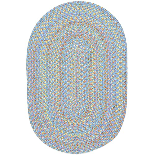Super Area Rugs Hipster Braided Rug Kids Rugs Extra Durable Soft Blue Nursery Playroom Carpet, 4 X 6 Oval