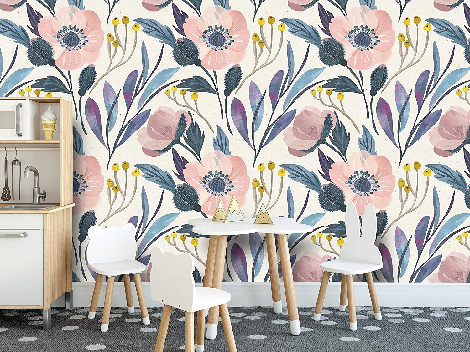 Watercolor Wallpaper Floral Wall Decor Temporary Wallpaper Nightengale Wallpaper Peel and Stick Forest Decor Hand Painted Wallpaper