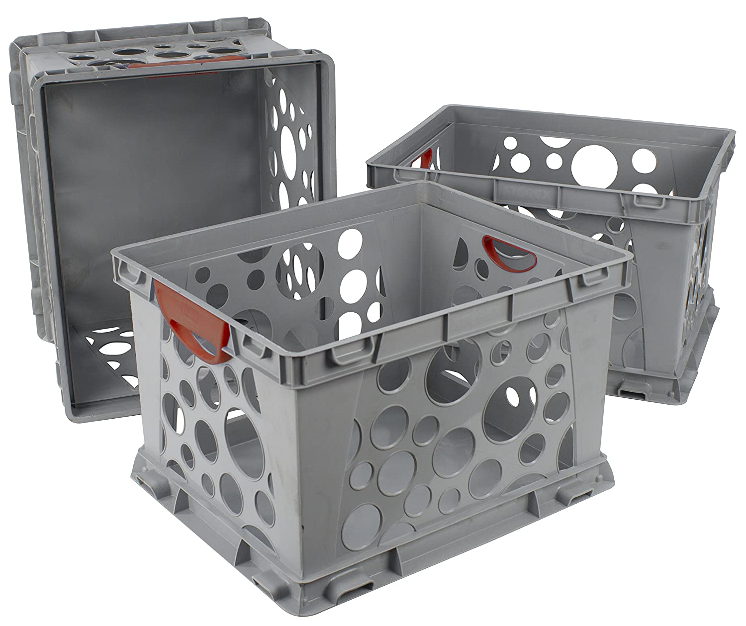 Case of 3 Storex Recycled Filing Crate with Comfort Handles Red 17.25 x 14.25 x 10.5 Inches STX61790U03C