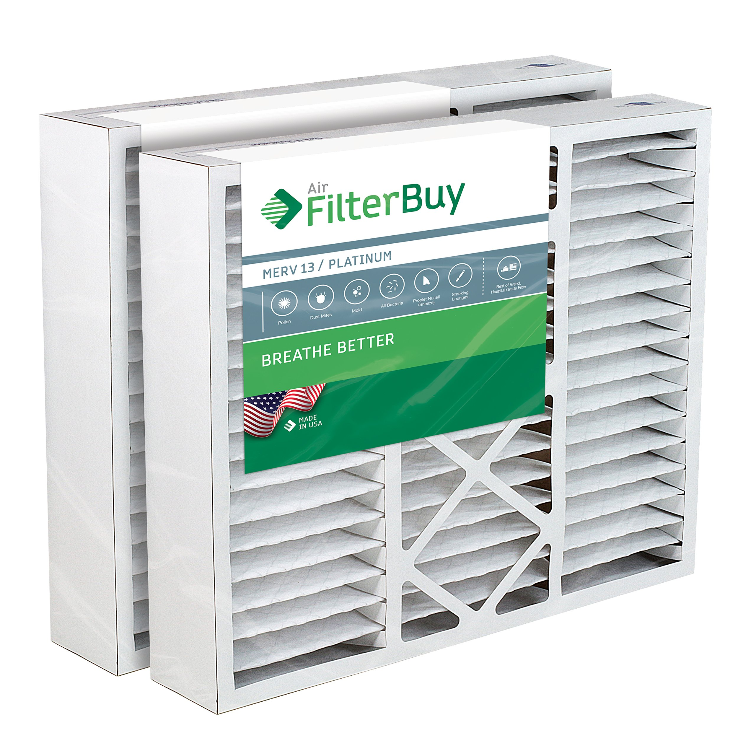 FilterBuy 20x25x5 Honeywell FC100A1037 Compatible Pleated AC Furnace Air Filters (MERV 13, AFB Platinum). Replaces Honeywell 203720, FC35A1027, FC100A1037, FC200E1037, Carrier FILXXCAR-0020. 2 Pack. by FilterBuy