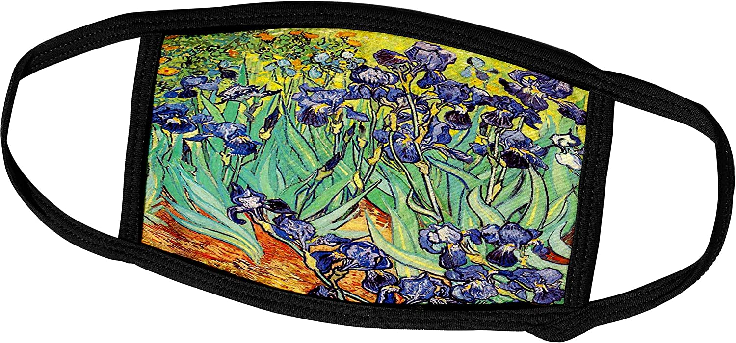 3dRose InspirationzStore Vintage Art - Irises by Vincent Van Gogh 1889 - Purple Flowers iris Garden - Copy of Famous Painting by The Master - Face Masks (fm_155630_1)