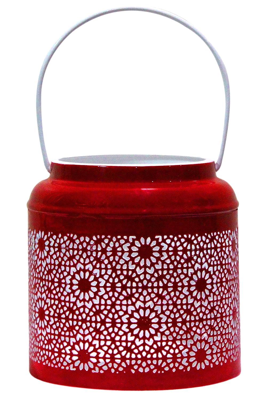 Farol portavelas oriental de metal - Candelabro para el jardín - Decorativo para la mesa - Baki Rojo - transmite buen ambiente - pasa un buen rato en el jardín