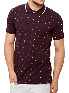 25707785a644a ZEYO Men's Cotton Printed Red Polo Tshirt Half Sleeve: Amazon.in ...