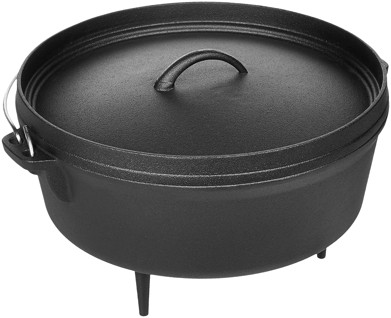 AmazonBasics Pre-Seasoned Cast Iron Camp Dutch Oven - 6-Quart