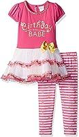 Youngland Girls' Birthday Babe' Tutu Mini Dress and Knit Printed Legging