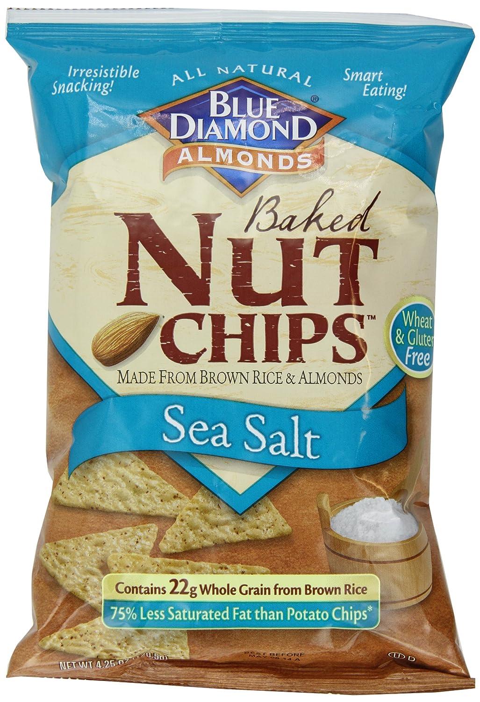 Amazon.com : Blue Diamond Baked Nut Chips, Sea Salt, 4.25 Ounce ...