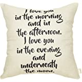 Fahrendom I Love You in The Morning and in The Afternoon I Love You in The Evening Farmhouse Quote Cotton Linen Home Decorative Throw Pillow Case Cushion Cover with Words for Sofa Couch 18 x 18 in