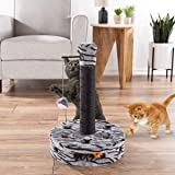 PETMAKER Interactive Cat Scratching Post- Built-in Rolling Ball & Track Toy, Sisal Scratch Pole & Hanging Mouse for Adult Cats & Kitten, Kitty Tree, Black (80-PET6180)