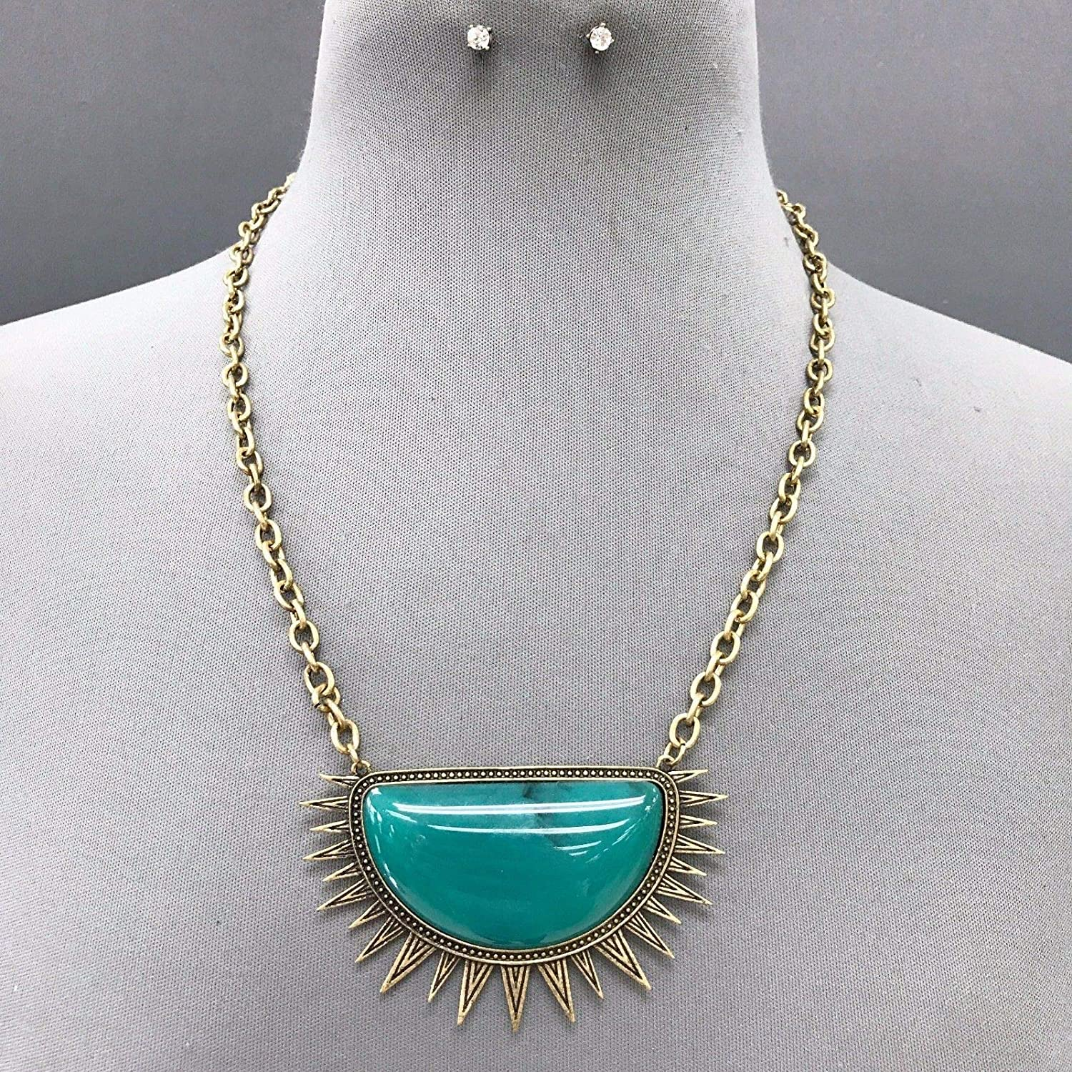 Antique Gold Chain Turquoise Half Circle Triangle Spikes Necklace Earrings