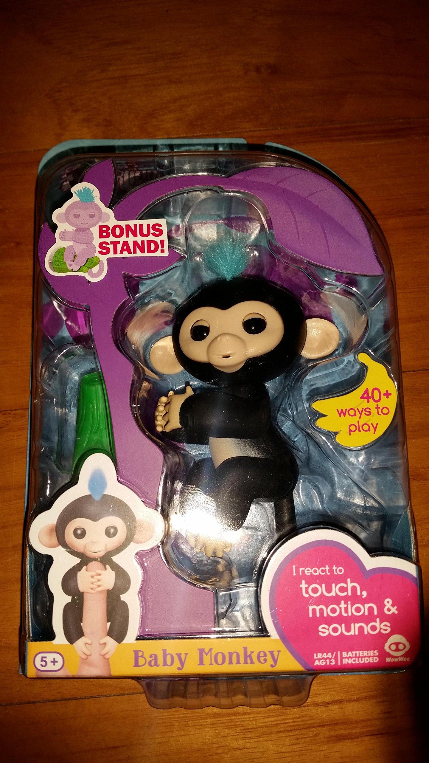 Fingerlings Baby Monkey - Finn - Black (Includes Bonus Stand)