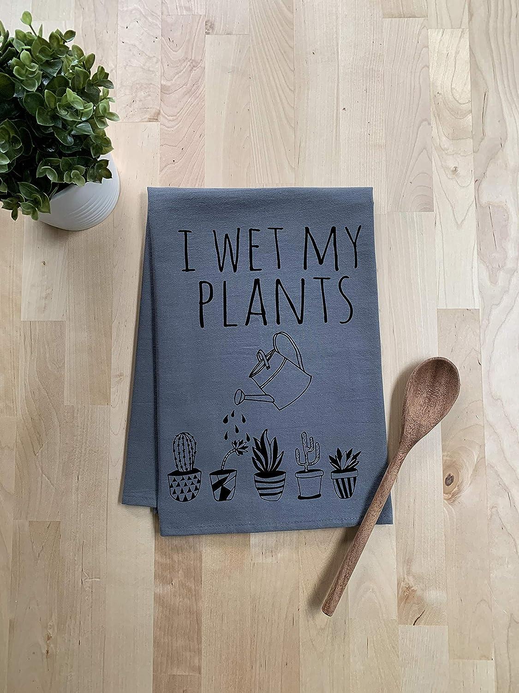 Black Ink Funny Dishcloth//Tea Towel ~ I Wet My Plants ~ Funny Kitchen Cloth ~ Gray