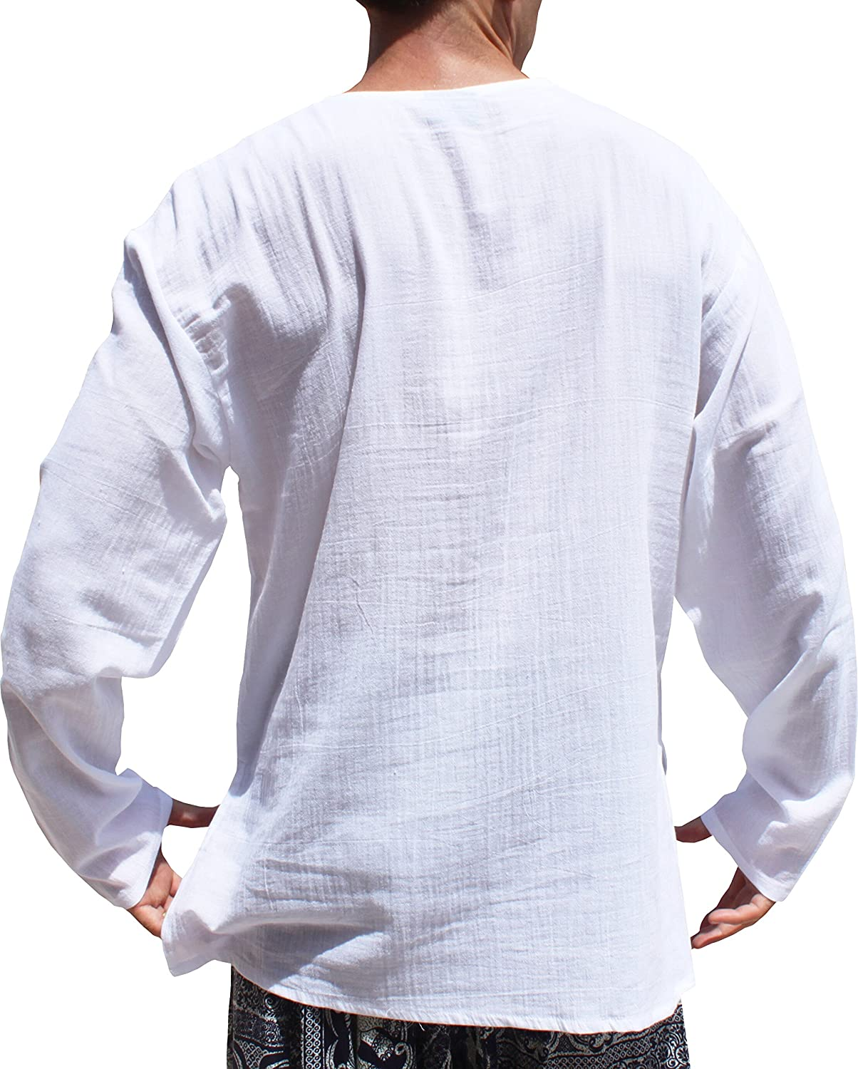 Raan Pah Muang RaanPahMuang Light Gauze Saloo Mens Summer Shirt Long Sleeve Small V Collar