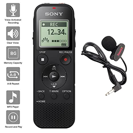 Sony Voice Recorder ICD-PX Series with Built-in Mic and USB, microSD Card Slot Up to 32 GB to Expand Memory, Adjustable Microphone Range, Includes A ...