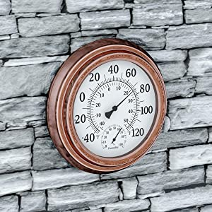 "Pure Garden Wall Thermometer-Decorative Indoor Outdoor Temperature and Hygrometer Humidity Gauge-5.5"" Display for Patio, Porch, Sunroom or Anywhere, Copper"