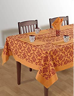 Colorful Rectangular Damask Print Cotton Tablecloth 60X120 Inch Orange And  Burgundy