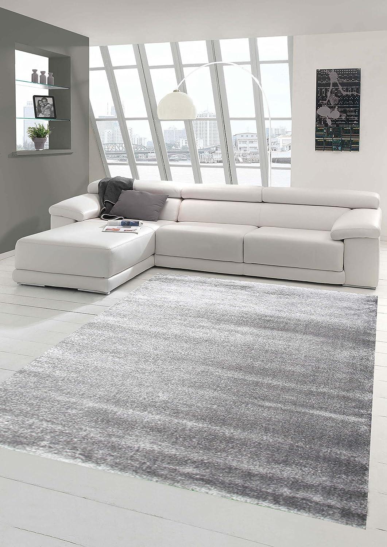 Traum Designer Teppich Moderner Teppich Wohnzimmer Teppich Kurzflor Teppich mit Uni Design Silber Größe 200 x 290 cm