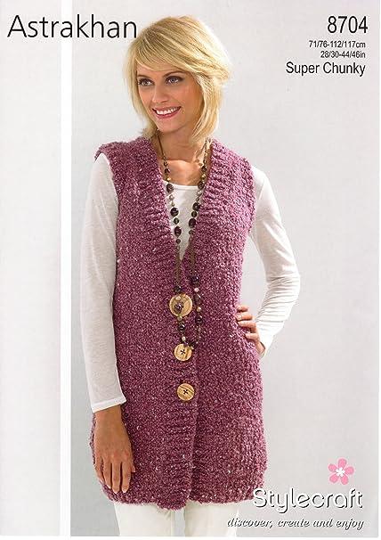 Stylecraft Knitting Pattern - Astrakhan Super Chunky Yarn - WAISTCOAT -  8704  Amazon.co.uk  Kitchen   Home cb9557b11