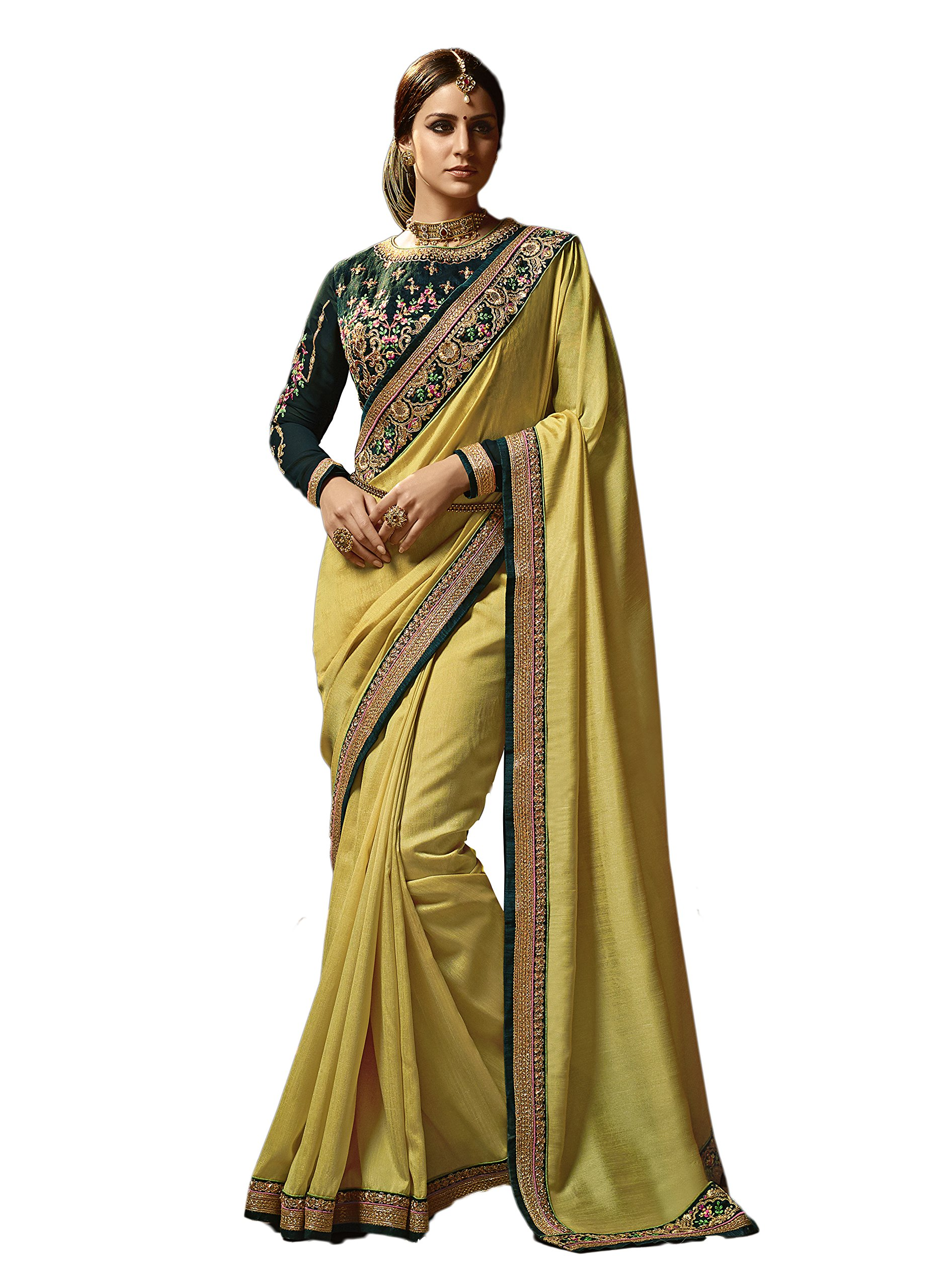 Dilse Fashion Embroidered Heavy Designer Paper Silk Saree (Yellow)