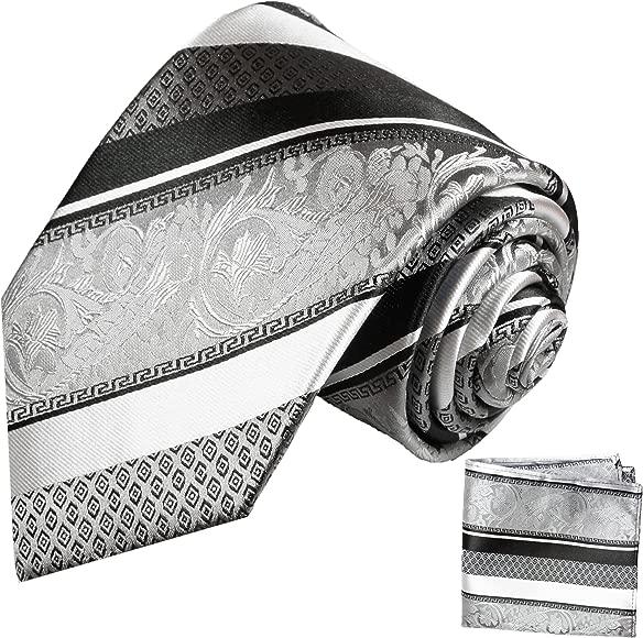 Plateado negro XL corbatas de seda corbata de 2 tlg 100% (longitud ...