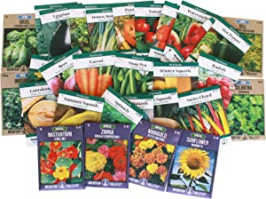Heirloom Seeds Assortment – Collection of 30 Non-GMO, Easy Grow, Gardening Seeds: Vegetable, Fruit, Herb & Flower – Open Pollinated – Radish, Pumpkin, Dill, Eggplant, Sunflower, More