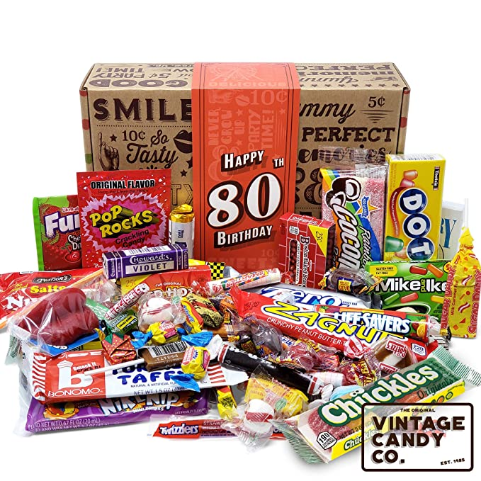 80TH BIRTHDAY RETRO CANDY GIFT BOX - Nostalgic Childhood Candies - For Man Or Woman Turning 80 Years Old