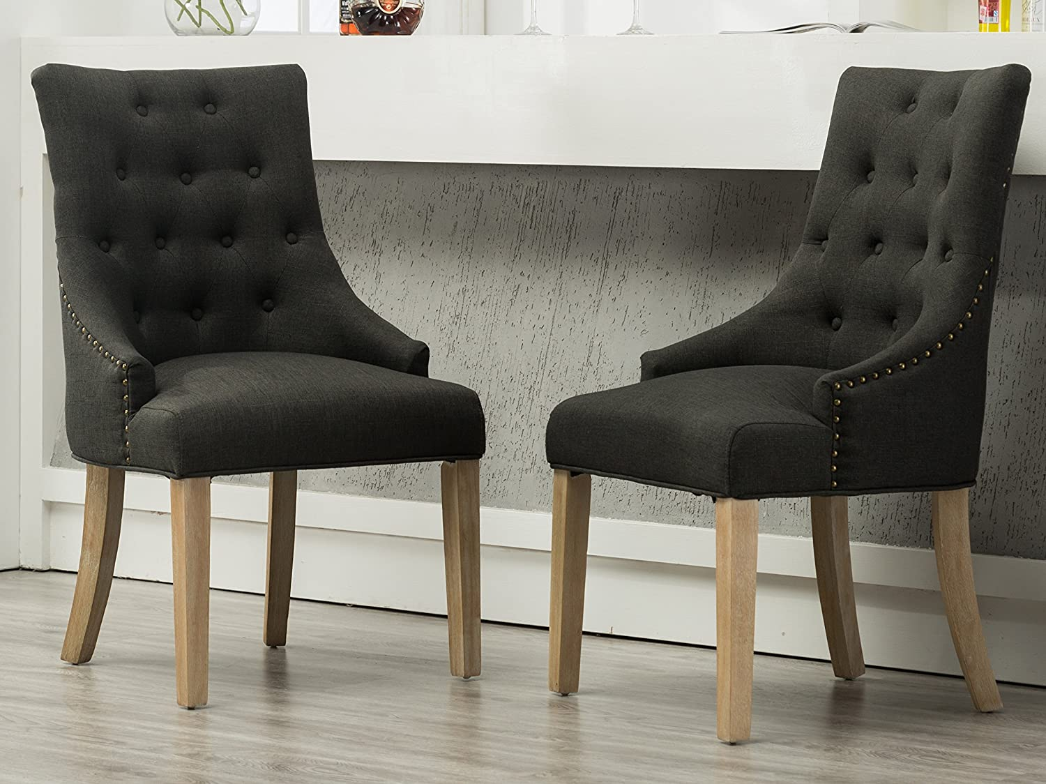 Amazon com roundhill furniture c169cc button tufted solid wood wingback hostess chairs with nail heads set of 2 charcoal chairs