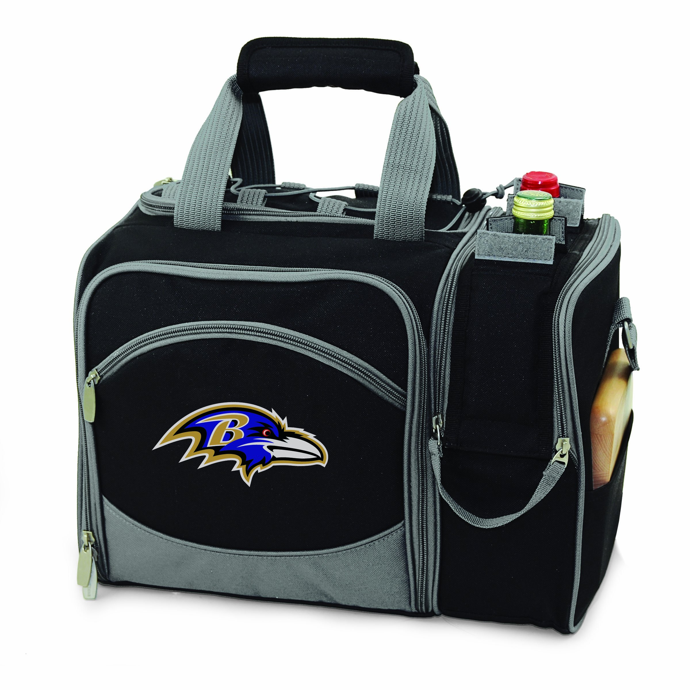 NFL Baltimore Ravens Malibu Insulated Shoulder Pack with Deluxe Picnic Service for Two