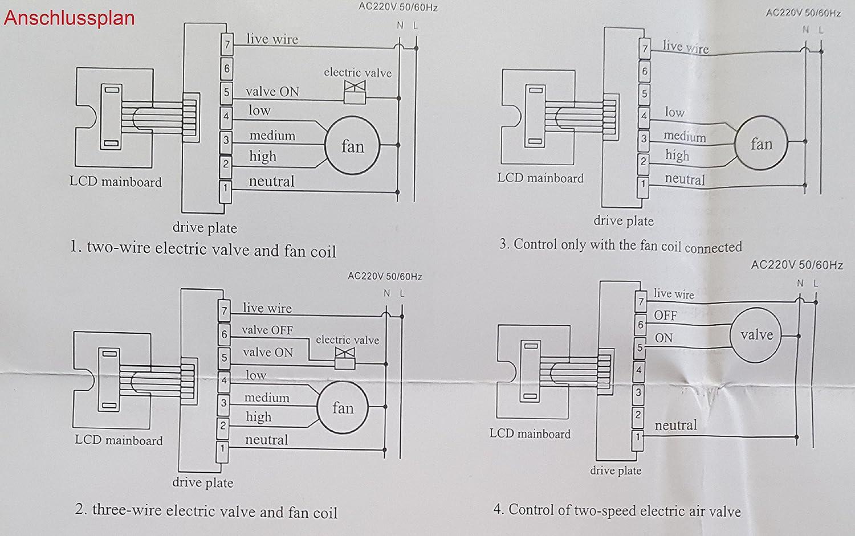 Raumthermostat Unterputz Fr Heizung Klimaanlage Heizlfter T905 Touch Plate Wiring Diagram 6 Pl Kche Haushalt