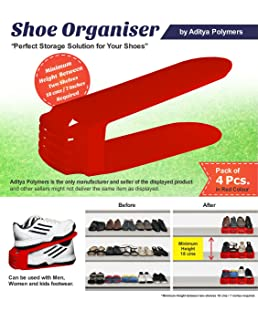 Aditya polymers Plastic Shoe Storage/Organizer, Red - Set of 4 Pieces