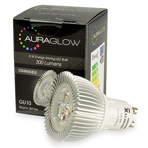 Auraglow – Bombilla LED de 6 W GU10 bombilla, luz blanca cálida, 50 W