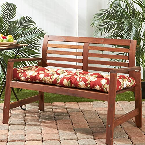 18-inch X 51-inch Outdoor Floral Bench Cushion Cream Green Red Traditional Transitional Polyester Fade Resistant Uv Water