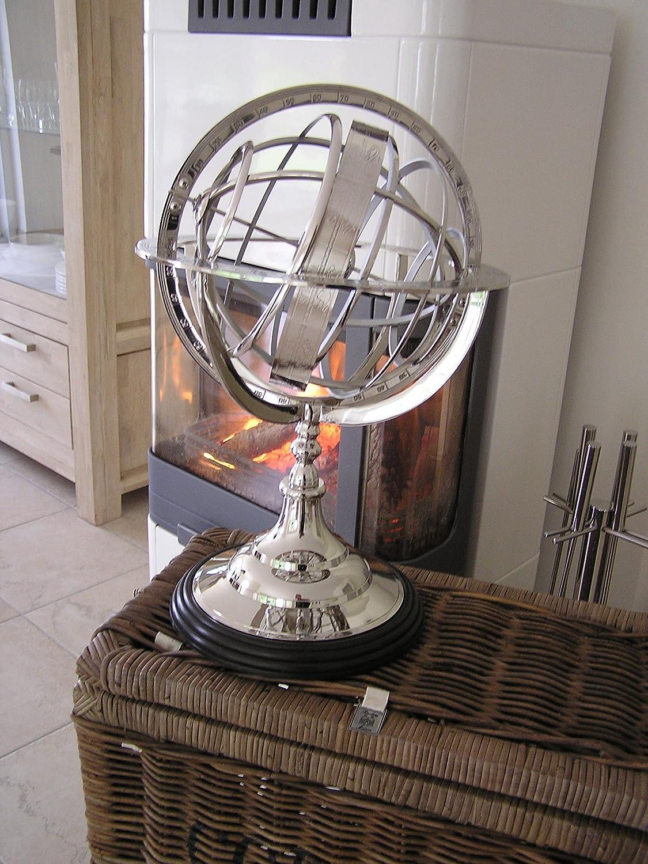 Antik Chrom Sonnenuhr Globus Deko Aluminium Bro Wohnzimmer Dekoration Sehfahrt Amazonde Kche Haushalt