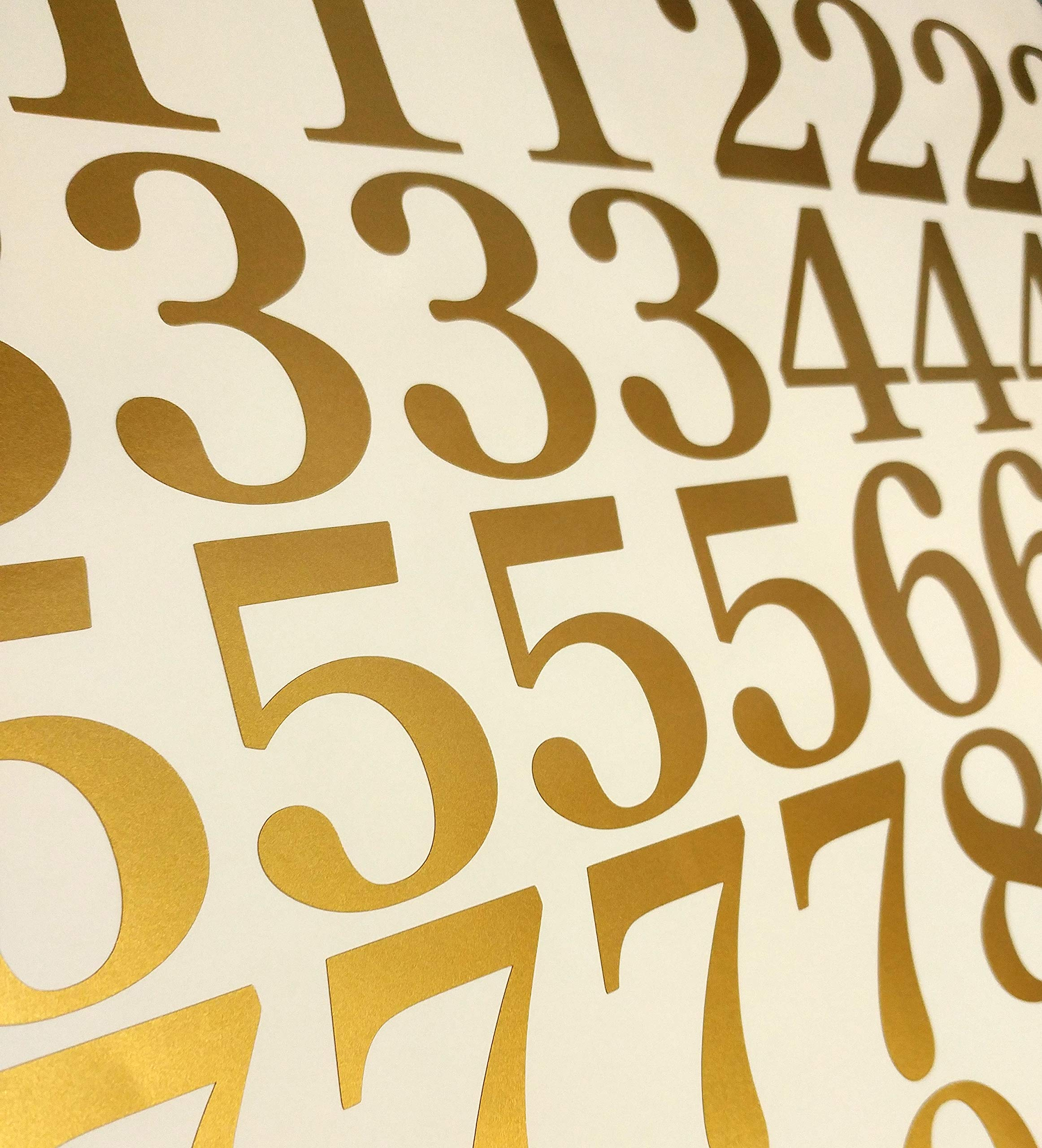 3'' Metallic Gold Color, Classic Style Mailbox Numbers,Lot of 40 (4 of each number form 0 to 9) 3 inch tall, Vinyl Mailbox Numbers,Doors,Tool Box,Locker,Car,Truck,Address Decal Stickers (Century)