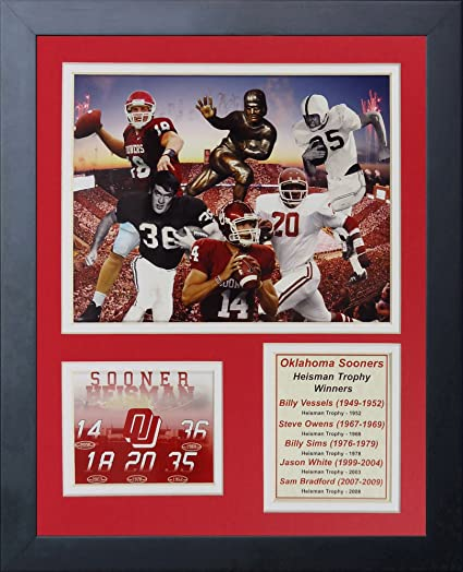 Legends Never Die Oklahoma Sooners Heisman Trophy Winners Collage, 11-Inch  by 14-Inch Framed Photo Collage, 11 by 14-Inch