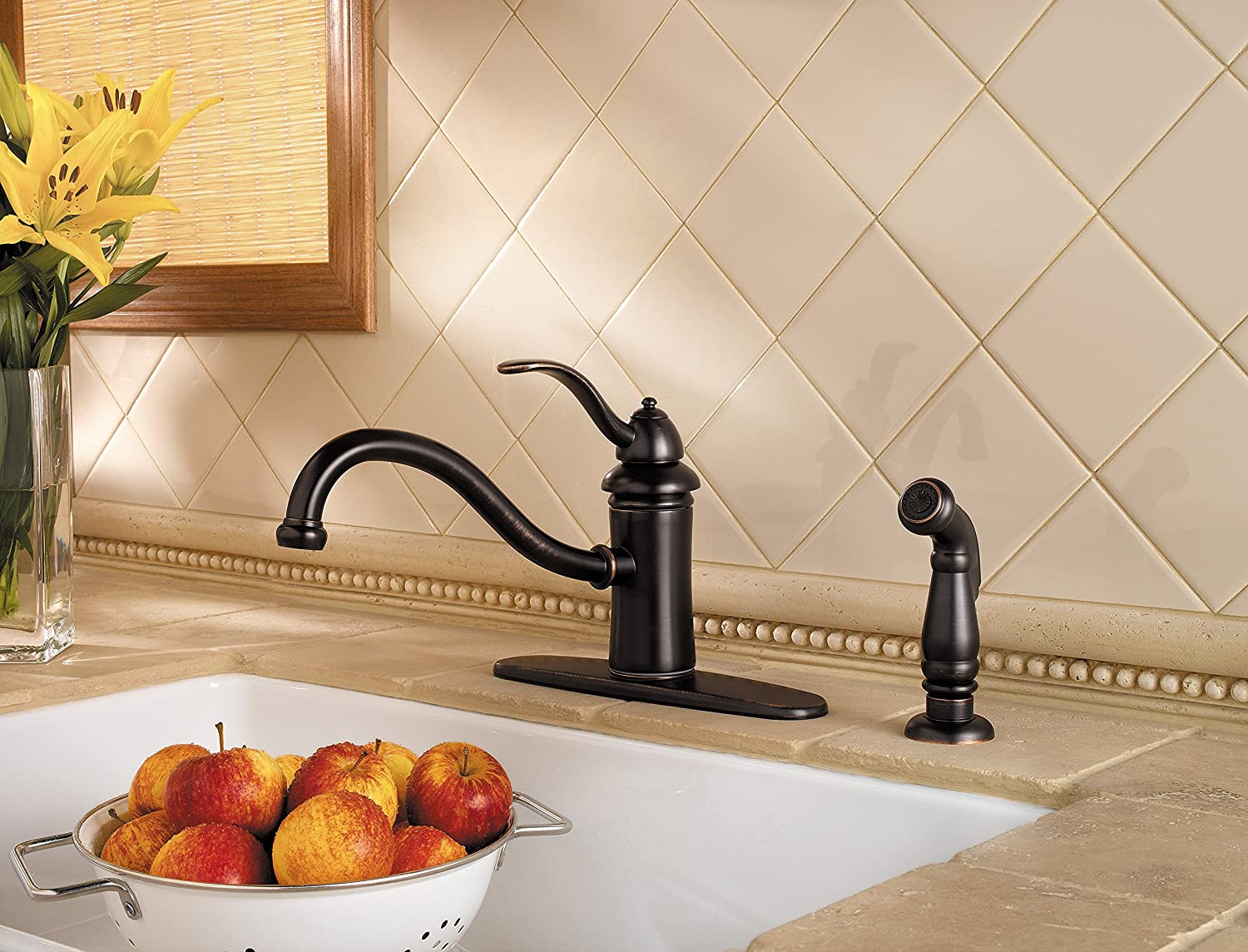 Pfister GT34-4TYY Marielle One-Handle Kitchen Faucet with Side Spray, Tuscan Bronze