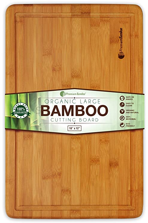 Extra Large Bamboo Cutting Board 18x12 Thick Strong Bamboo Wood Cutting Board With Drip Groove By Premium Bamboo